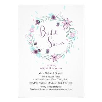 Purple Floral Wreath Bridal Shower Invitation