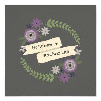 Purple Floral Wreath Gray Wedding 13 Cm X 13 Cm Square Invitation Card