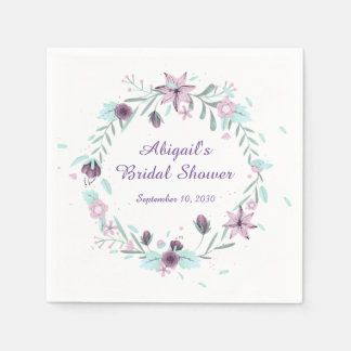 Purple Floral Wreath Paper Napkin