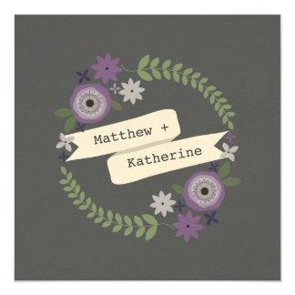 Purple Floral Wreath Wedding From Bride's Parents 13 Cm X 13 Cm Square Invitation Card