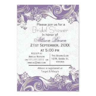 Purple florals spring Bridal shower Card