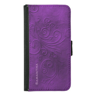 Purple Flourish Samsung S5 Wallet Case