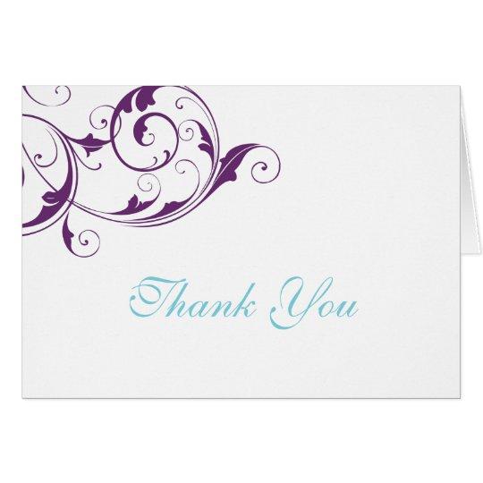 Purple Flourish Thank You Card