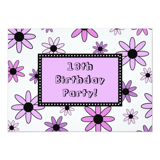 Purple Flower 13th Birthday Party Invitation Cards