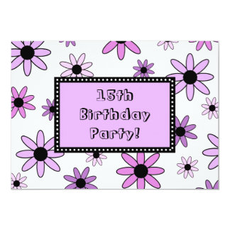 Purple Flower 15th Birthday Party Invitation Cards