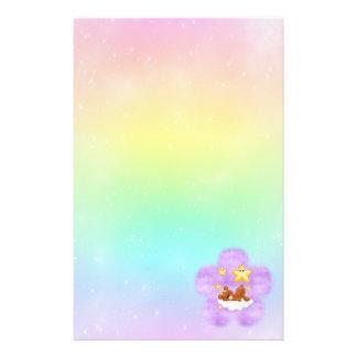 Purple Flower Bear Stationery