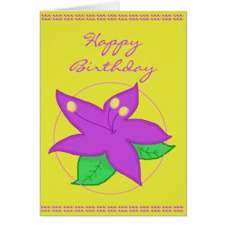 Purple Flower Birthday Card
