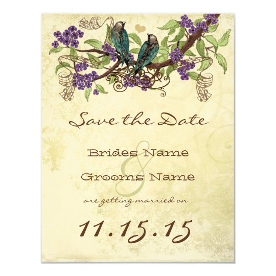Purple Flower Branch Vintage Birds Save the Date Card