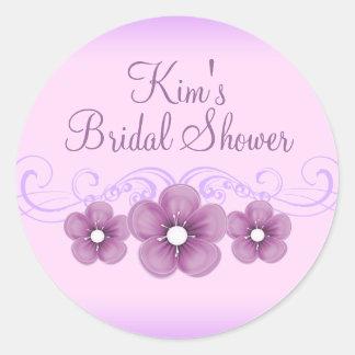 Purple Flower Bridal Shower Sticker