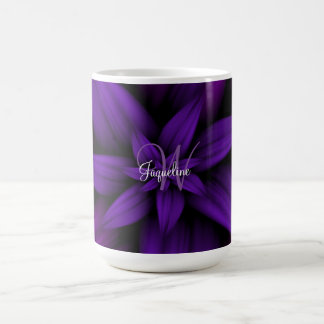 Purple Flower Burst Monogram Coffee Mug