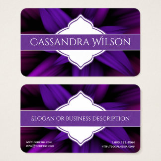 Purple Flower Burst Quatrefoil Business Card