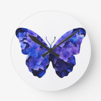 Purple flower butterfly silhouette round clock