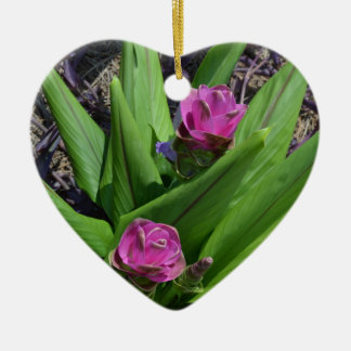 Purple Flower Ceramic Heart Decoration