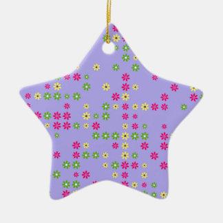 Purple Flower Confetti Ceramic Ornament
