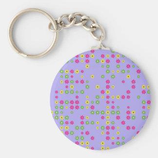 Purple Flower Confetti Key Ring