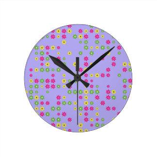 Purple Flower Confetti Round Clock