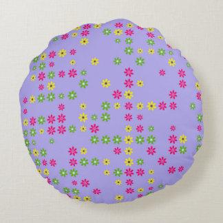 Purple Flower Confetti Round Cushion