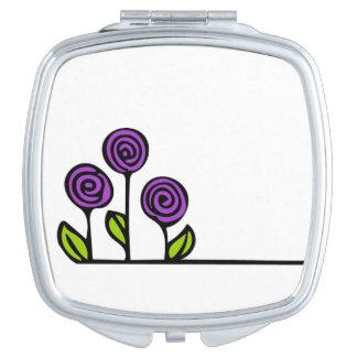 Purple Flower Cosmetic Mirror Travel Mirror