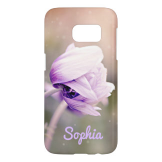 Purple Flower Custom Name Samsung Galaxy S7 Case