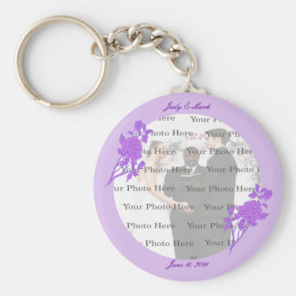 Purple Flower Custom Round Key Chain