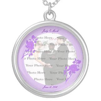 Purple Flower Custom Round Silver Necklace