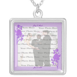 Purple Flower Custom Square Silver Necklace