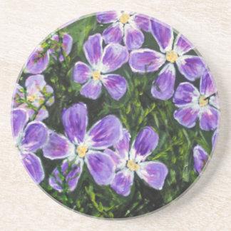 Purple flower design drink coaster