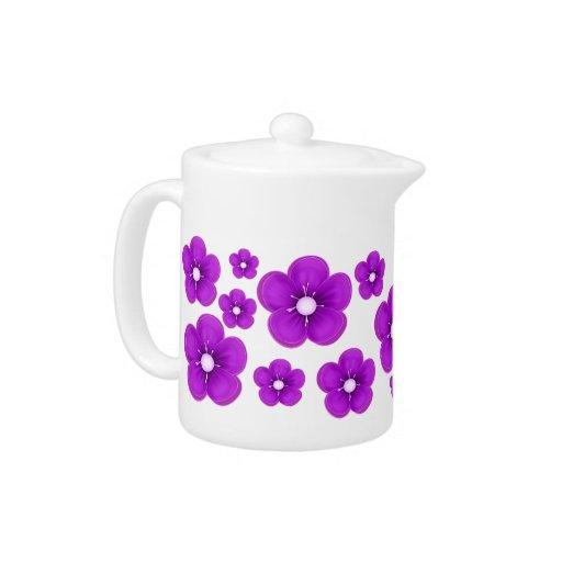 Purple Flower Design Teapot