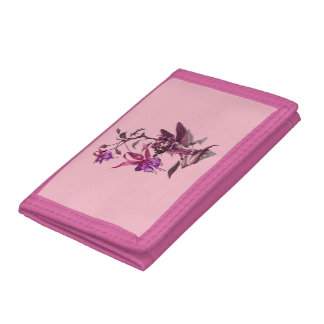 Purple Flower Fairy TriFold Nylon Wallet