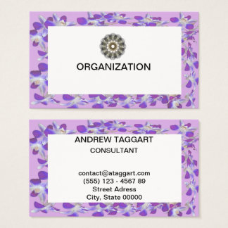 purple flower frame organization business card