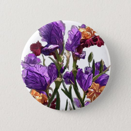 purple flower garden 6 cm round badge