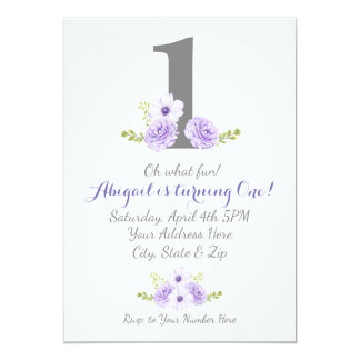 Purple Flower Garden Any Birthday Invitation