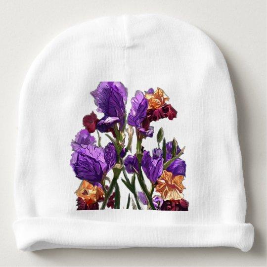 purple flower garden baby beanie