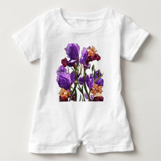 purple flower garden baby bodysuit
