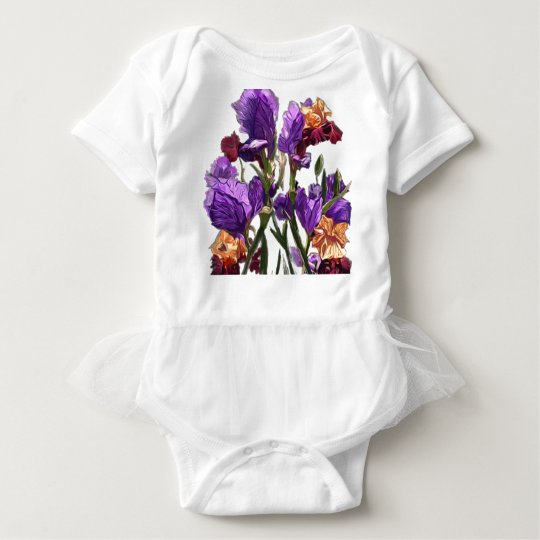 purple flower garden baby bodysuit