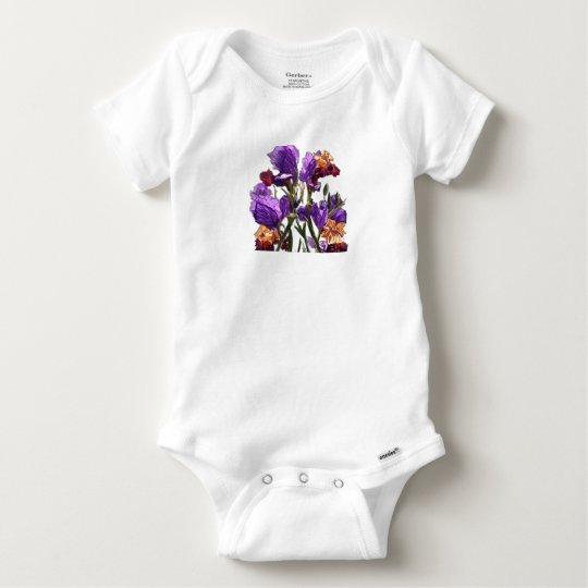 purple flower garden baby onesie
