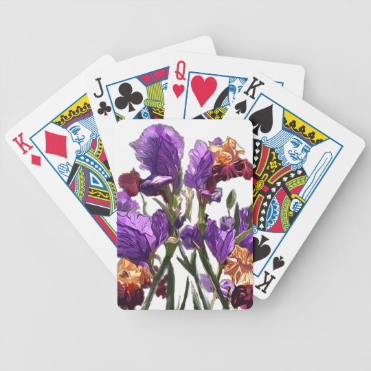 purple flower garden bicycle playing cards