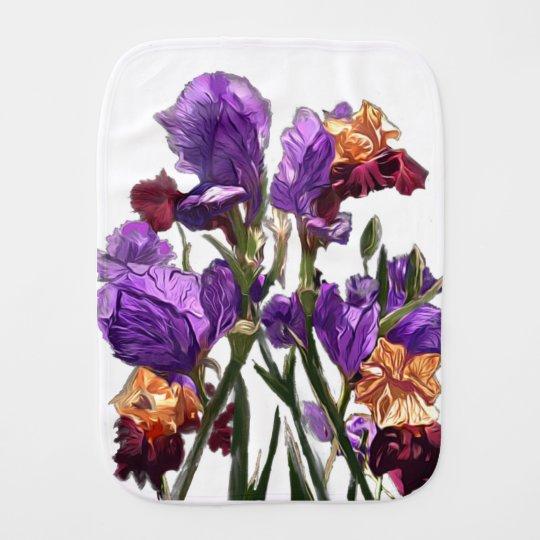 purple flower garden burp cloth