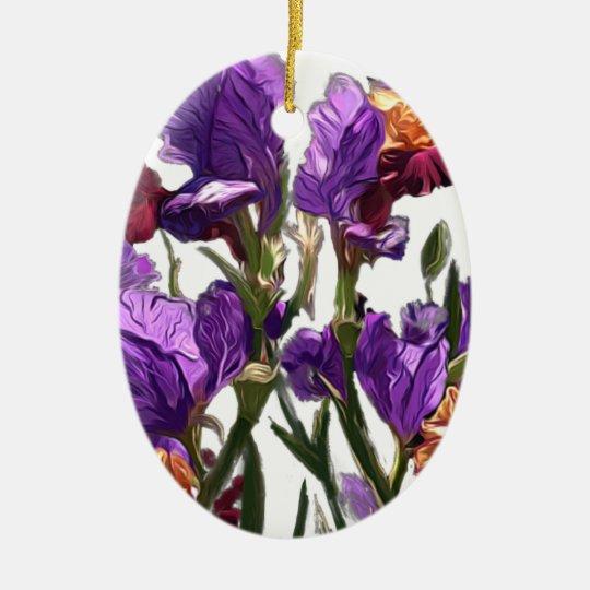 purple flower garden ceramic ornament