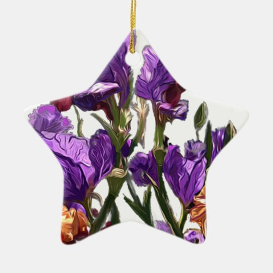 purple flower garden ceramic ornament