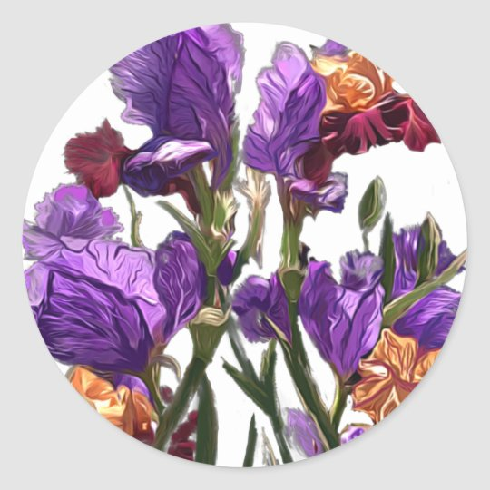 purple flower garden classic round sticker