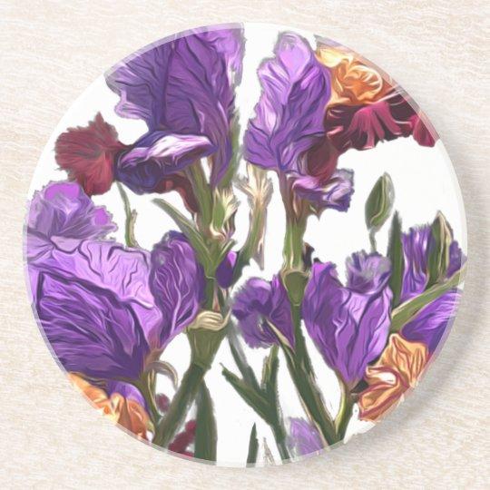 purple flower garden coaster