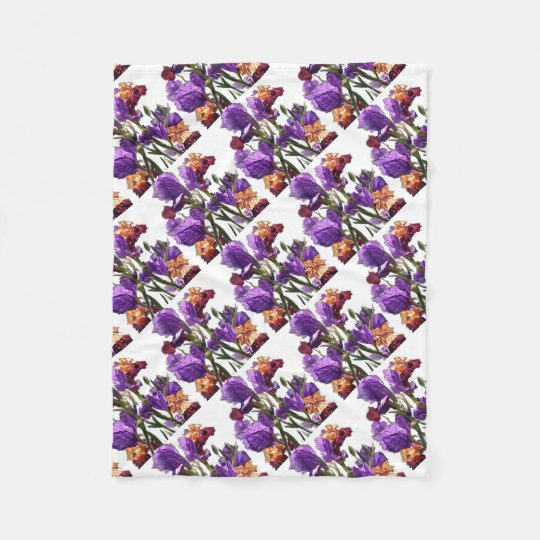 purple flower garden fleece blanket