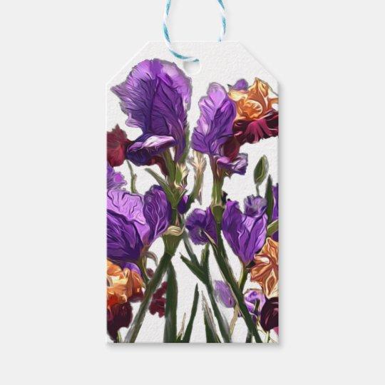 purple flower garden gift tags