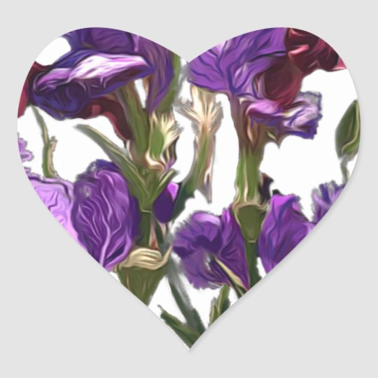 purple flower garden heart sticker