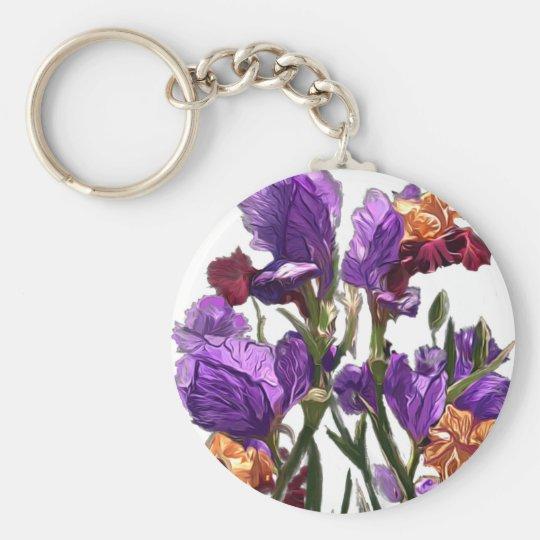 purple flower garden key ring
