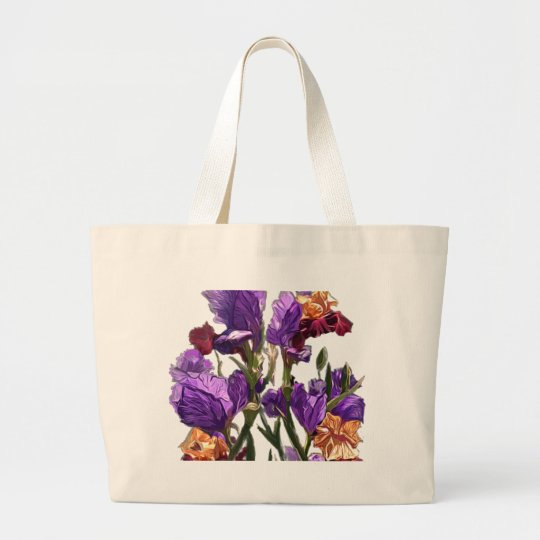 purple flower garden large tote bag