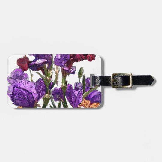 purple flower garden luggage tag