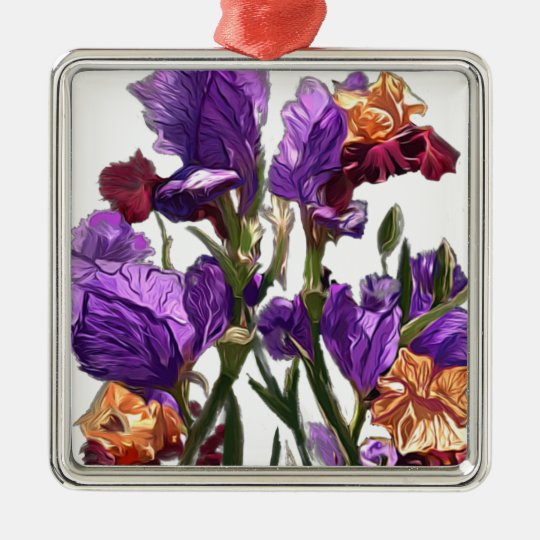 purple flower garden metal ornament