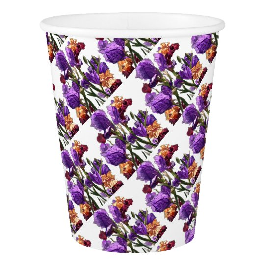 purple flower garden paper cup
